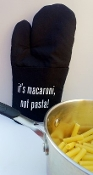 """It's Macaroni, Not Pasta!"" Oven Mitt - Black"