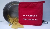 "Quilted Cotton ""It's Gravy Not Sauce!"" Red Pot Holder"